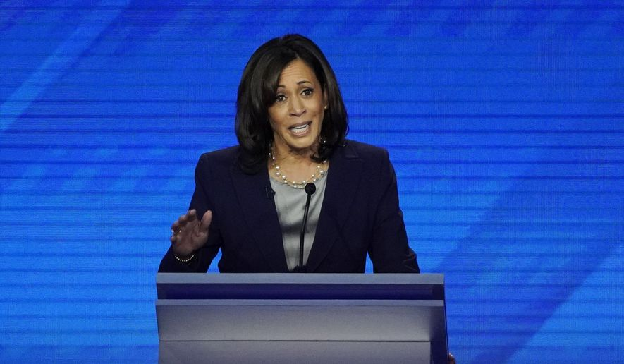 Democratic presidential candidate Sen. Kamala Harris, D-Calif. speaks Thursday, Sept. 12, 2019, during a Democratic presidential primary debate hosted by ABC at Texas Southern University in Houston. (AP Photo/David J. Phillip) **FILE**