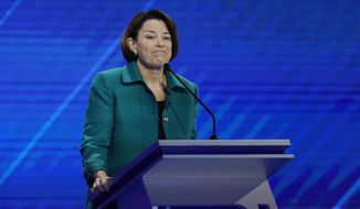 Democratic presidential candidate Sen. Amy Klobuchar, D-Minn. gives her closing statement Thursday, Sept. 12, 2019, during a Democratic presidential primary debate hosted by ABC at Texas Southern University in Houston. (AP Photo/David J. Phillip)