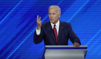 Democratic presidential candidate former Vice President Joe Biden speaks Thursday, Sept. 12, 2019, during a Democratic presidential primary debate hosted by ABC at Texas Southern University in Houston. (AP Photo/David J. Phillip)