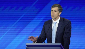 Democratic presidential candidate former U.S. Rep. Beto O'Rourke gives his closing statement Thursday, Sept. 12, 2019, during a Democratic presidential primary debate hosted by ABC at Texas Southern University in Houston. (AP Photo/David J. Phillip)