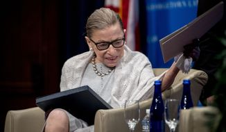 Supreme Court Justice Ruth Bader Ginsburg arrives to speak at Georgetown Law in Washington, Thursday, Sept. 12, 2019. (AP Photo/Andrew Harnik)
