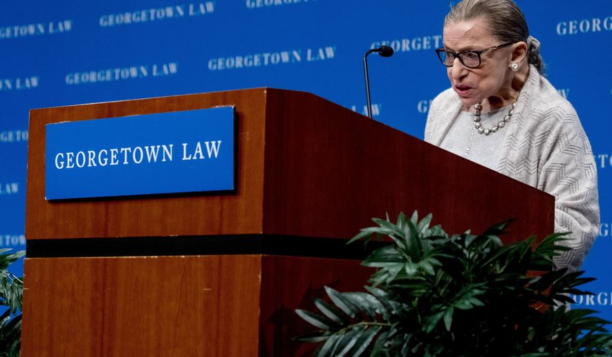 Supreme Court Justice Ruth Bader Ginsburg speaks at Georgetown Law in Washington, Thursday, Sept. 12, 2019. (AP Photo/Andrew Harnik)