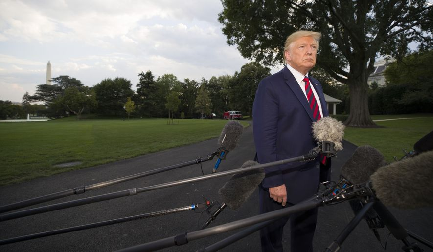 President Donald Trump listens to a question speaks with reporters before departing on Marine One from the South Lawn of the White House, Thursday, Sept. 12, 2019, in Washington. Trump is en route to Baltimore.(AP Photo/Alex Brandon)