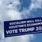 A plane hired by President Trump's 2020 campaign flies an anti-socialism message above Houston, Sept. 12, 2019. (Image: Twitter, Brad Parscale, Trump campaign video screenshot)