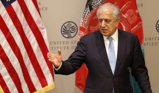 In this Feb. 8, 2019, photo, Special Representative for Afghanistan Reconciliation Zalmay Khalilzad speaks on the prospects for peace at the U.S. Institute of Peace, in Washington. Afghanistan's Taliban leaders agreed they wanted a deal with the United States, but some among them were in more of a hurry than others. Even before U.S. President Donald Trump canceled a mysterious Camp David summit on Saturday, Sept. 7, 2019, the Taliban negotiators were at odds with the council of leaders, or shura, that rules the Islamic movement. (AP Photo/Jacquelyn Martin) **FILE**