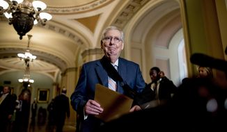 In this Sept. 10, 2019, photo, Senate Majority Leader Mitch McConnell of Ky., arrives for a news conference following a Senate policy luncheon on Capitol Hill in Washington. (AP Photo/Andrew Harnik) ** FILE **