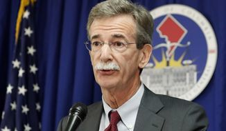 FILE - In this June 12, 2017, file photo, Maryland Attorney General Brian Frosh speaks during a news conference in Washington. Frosh and a coalition of state lawmakers have asked U.S. Education Secretary Betsy DeVos why so many people are being denied by the federal Public Service Loan Forgiveness program.  (AP Photo/Alex Brandon, File)