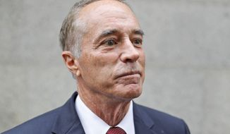 U.S. Rep. Chris Collins, R-N.Y., speaks to reporters as he leaves the courthouse after a pretrial hearing in his insider-trading case, Thursday, Sept. 12, 2019, in New York. (AP Photo/Seth Wenig)