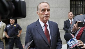 U.S. Rep. Chris Collins, R-N.Y., speaks to reporters as he leaves the courthouse after a pretrial hearing in his insider-trading case, Thursday, Sept. 12, 2019, in New York. (AP Photo/Seth Wenig) ** FILE **
