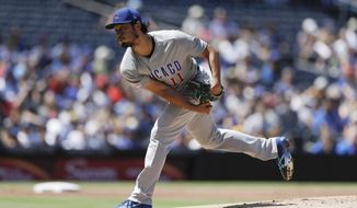 Chicago Cubs starting pitcher Yu Darvish works against a San Diego Padres batter during the second inning of a baseball game Thursday, Sept. 12, 2019, in San Diego. (AP Photo/Gregory Bull)