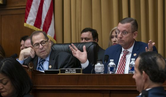 House Judiciary Committee Chairman Jerrold Nadler, D-N.Y., left, listens to a spirited objection by Rep. Doug Collins, R-Georgia, right, the ranking member, as the panel moved to approve guidelines for impeachment investigation hearings on President Donald Trump, on Capitol Hill in Washington, Thursday, Sept. 12, 2019. (AP Photo/J. Scott Applewhite) ** FILE **
