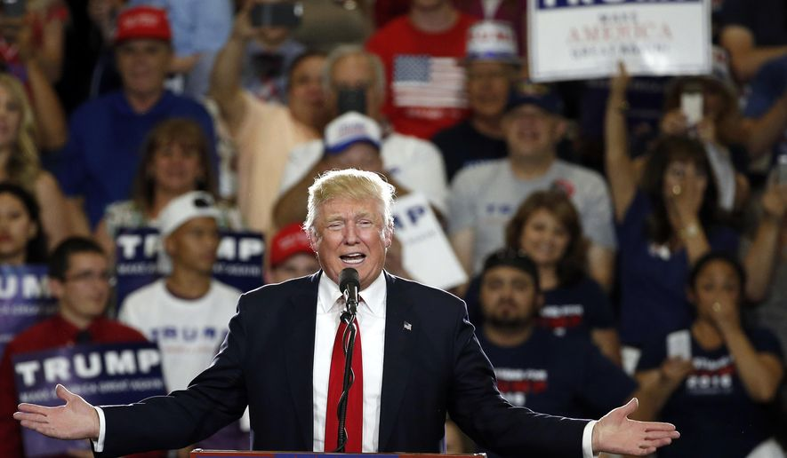 FILE - In this May 24, 2016 file photo, Republican then-presidential candidate Donald Trump speaks at a campaign event in Albuquerque, N.M. New Mexico law enforcement agencies are prepping for an upcoming Trump rally in Rio Rancho, N.M. on Monday, Sept. 16, 2019, three years after previous ones turned violent in Albuquerque. (AP Photo/Brennan Linsley, File)