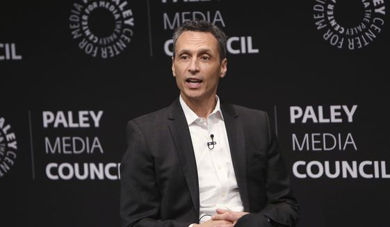 In this photo provided by Starpix, James Pitaro speaks at the Paley Center for Media in New York, Thursday, Sept. 12, 2019.ESPN President Jimmy Pitaro expects competition from Silicon Valley when the NFL's television contracts come up for renewal. The cable network's $15.2 billion, eight-year contract with the league for Monday night games runs through 2021. CBS, NBC and Fox and NBC have deals with the NFL that extend to 2022. Amazon, Google and Facebook could be among the bidders. (Patrick Huban/Starpix via AP)