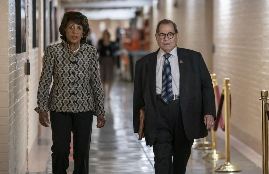 House Financial Services Committee Chairwoman Maxine Waters, D-Calif., left, and House Judiciary Committee Chairman Jerrold Nadler, D-N.Y., arrive for a gathering of the Democratic Caucus as Congress returns for the fall session, at the Capitol in Washington, Tuesday, Sept. 10, 2019. Nadler says his committee will move forward with impeachment hearings this fall, bolstered by lawmakers on the panel who roundly support moving forward. (AP Photo/J. Scott Applewhite)