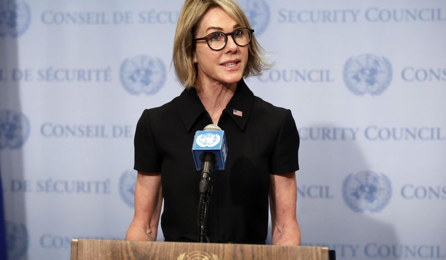New U.S. Ambassador Kelly Craft talks to the media after attending her first Security Council meeting, at United Nations headquarters, Thursday, Sept. 12, 2019. (AP Photo/Richard Drew)