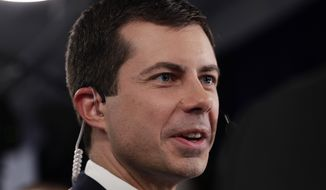 South Bend Mayor Pete Buttigieg talks to the media in the spin room following the Democratic presidential primary debate hosted by ABC on the campus of Texas Southern University Thursday, Sept. 12, 2019, in Houston. (AP Photo/Eric Gay)