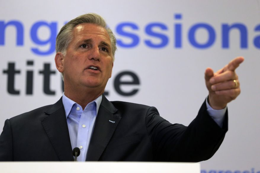 House Minority Leader Kevin McCarthy R-Calif., speaks during a news conference at the 2019 House Republican Conference Member Retreat in Baltimore, Friday, Sept. 13, 2019. (AP Photo/Jose Luis Magana) ** FILE **