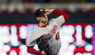 Washington Nationals pitcher Patrick Corbin throws against the Minnesota Twins in the first inning of a baseball game Thursday, Sept. 12, 2019, in Minneapolis. (AP Photo/Jim Mone)