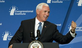Vice President Mike Pence speaks at the 2019 House Republican Conference Member Retreat in Baltimore, Friday, Sept. 13, 2019. (AP Photo/Jose Luis Magana)