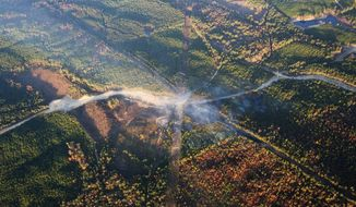 FILE - In this Nov. 1, 2016 file photo, a fog of smoke covers the trees near an explosion of a Colonial Pipeline  in Helena, Ala.  A new federal lawsuit accuses a pipeline company of failing to tell work crews where a major U.S. pipeline was underground before they ruptured the line, touching off a deadly explosion. The estate of Anthony Willingham, an Alabama worker who died in the blast, this week filed a federal lawsuit against Georgia-based Colonial Pipeline Co. and a partner company. (AP Photo/Brynn Anderson, File)