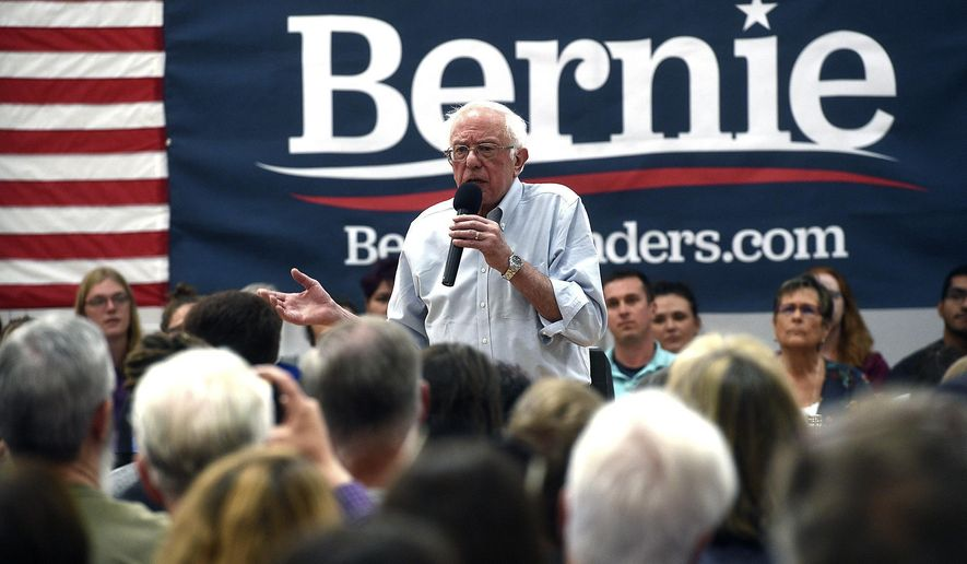 Democratic presidential candidate Sen. Bernie Sanders speaks during a campaign stop at the Carson City Community Center Gymnasium, Friday, Sept. 13, 2019 in Carson City, Nev. (Jason Bean/The Reno Gazette-Journal via AP)