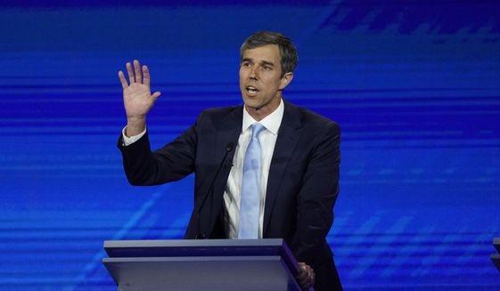 Democratic presidential candidate former Texas Rep. Beto O'Rourke answers a question Thursday, Sept. 12, 2019, during a Democratic presidential primary debate hosted by ABC at Texas Southern University in Houston. (AP Photo/David J. Phillip)