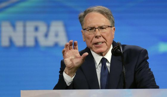 In this Friday, April 26, 2019, file photo, National Rifle Association Executive Vice President Wayne LaPierre speaks at the National Rifle Association Institute for Legislative Action Leadership Forum in Lucas Oil Stadium in Indianapolis. (AP Photo/Michael Conroy) **FILE**