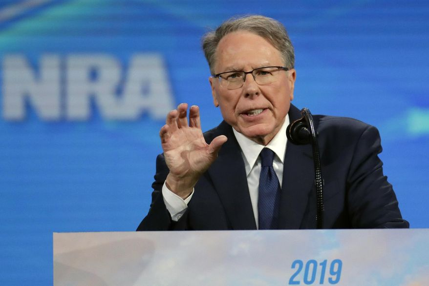 In this Friday, April 26, 2019, photo, National Rifle Association Executive Vice President Wayne LaPierre speaks at the National Rifle Association Institute for Legislative Action Leadership Forum in Lucas Oil Stadium in Indianapolis. (AP Photo/Michael Conroy) **FILE**