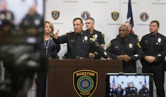 Houston Police Chief Art Acevedo speaks during a press conference, Friday, Sept. 13, 2019, in Houston. A Houston police officer was hospitalized in stable condition after he was shot in a struggle with a suspect who along with three others stole two vehicles and attempted to kill a priest in a crime spree that played out as Democratic presidential candidates debated just miles away, the city's police chief said Friday. (Yi-Chin Lee/Houston Chronicle via AP)