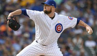 Chicago Cubs starter Jon Lester delivers a pitch during the first inning of a baseball game against the Pittsburgh Pirates, Friday, Sept. 13, 2019, in Chicago. (AP Photo/Paul Beaty)