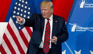 President Donald Trump speaks at the 2019 House Republican Conference Member Retreat Dinner in Baltimore, Thursday, Sept. 12, 2019. (AP Photo/Jose Luis Magana)