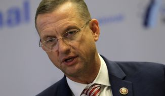 Rep. Doug Collins, Georgia Republican, speaks at a news conference during the House Republican members conference in Baltimore on Thursday, Sept. 12, 2019. (AP Photo/Jose Luis Magana) **FILE**