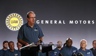 FILE - In this July 16, 2019, file photo United Auto Workers President Gary Jones speaks during the opening of their contract talks with General Motors in Detroit. A strike against General Motors looms large with just over a day left until the United Auto Workers' national contracts with the three Detroit automakers expire. The union's national agreements with GM, Ford and Fiat Chrysler end at 11:59 p.m. Saturday, Sept. 14.  (AP Photo/Paul Sancya, File)