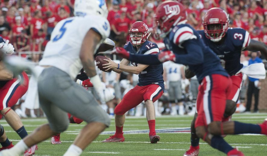 Liberty quarterback Stephen Calvert receives the snap during an NCAA college football game against Buffalo, Saturday, Sept. 14, 2019 in Lynchburg, Va. (Taylor Irby/The News & Advance via AP)