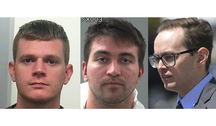CORRECTS TO SAY CRANDALL AT LEFT AND SHAMO AT CENTER - FILE - This combination of file photos shows Drew Crandall, from left, Aaron Shamo and Sean Gygi. Shamo built a multimillion-dollar fentanyl trafficking empire from his computer with help from Crandall and Gygi. The case prosecutors brought against him reveals the ease with which the powerful opioid drug that has killed tens of thousands of people now moves around the world. (AP Photo, File)