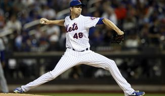 New York Mets starting pitcher Jacob deGrom delivers against the Los Angeles Dodgers during the first inning of a baseball game, Saturday, Sept. 14, 2019, in New York. (AP Photo/Mary Altaffer)