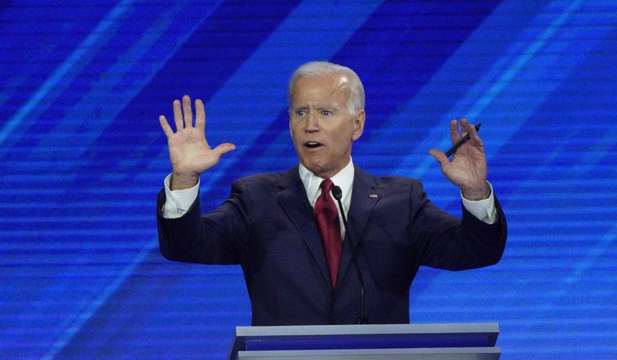 Democratic presidential candidate former Vice President Joe Biden answers a question Thursday, Sept. 12, 2019, during a Democratic presidential primary debate hosted by ABC at Texas Southern University in Houston. (AP Photo/David J. Phillip) ** FILE **