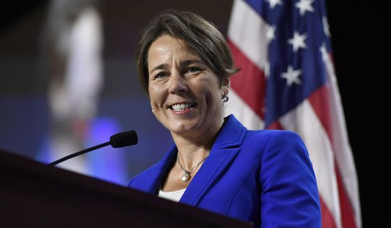 Massachusetts Attorney General Maura Healey, speaks to delegates during the 2019 Massachusetts Democratic Party Convention, Saturday, Sept. 14, 2019, in Springfield, Mass. (AP Photo/Jessica Hill) ** FILE **