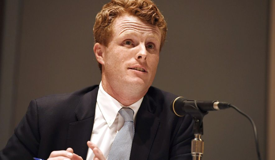 U.S. Rep. Joe Kennedy III, speaks on a panel on race and politics, Saturday, Sept. 14, 2019, in Springfield, Mass. (AP Photo/Jessica Hill)