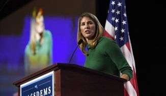 U.S. Rep. Lori Trahan, speaks to delegates during the 2019 Massachusetts Democratic Party Convention, Saturday, Sept. 14, 2019, in Springfield, Mass. (AP Photo/Jessica Hill) **FILE**