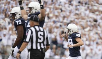 Penn State kicker Jordan Stout (98) celebrates his 57-yard field goal in the second quarter of an NCAA college football game against Pittsburgh in State College, Pa., on Saturday, Sept. 14, 2019. (AP Photo/Barry Reeger)