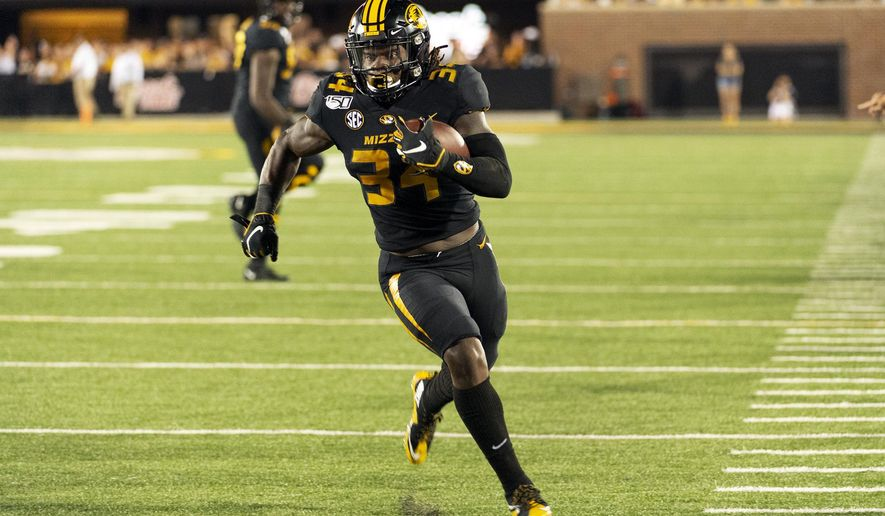 Missouri running back Larry Rountree III runs the ball during the second half of an NCAA college football game against Southeast Missouri State, Saturday, Sept. 14, 2019, in Columbia, Mo. (AP Photo/L.G. Patterson)