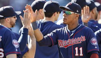 Minnesota Twins' Jorge Polanco is congratulated by teammates after the Twins defeated the Cleveland Indians 2-0 in the first baseball game of a baseball doubleheader, Saturday, Sept. 14, 2019, in Cleveland. (AP Photo/Tony Dejak)