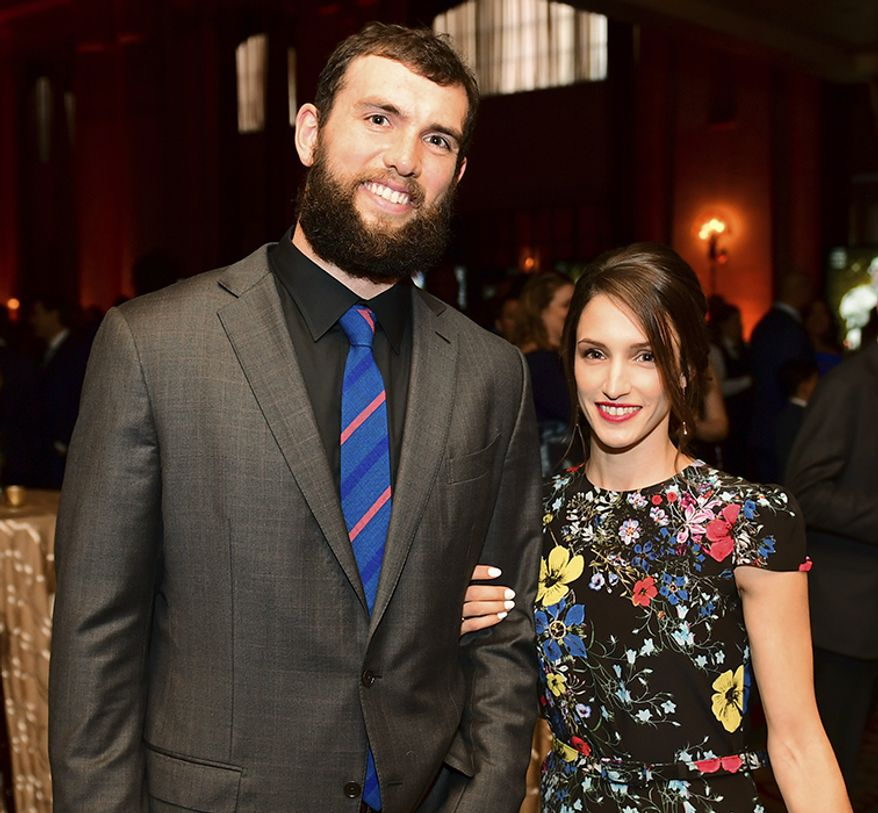 NICOLE PECHANEC AND ANDREW LUCK                                                     Andrew Luck of the Indianapolis Colts, left, and Nicole Pechanec attend the 8th Annual NFL Honors at The Fox Theatre on Saturday, Feb. 2, 2019, in Atlanta. (Photo by Joy Asico/Invision for NFL/AP Images)