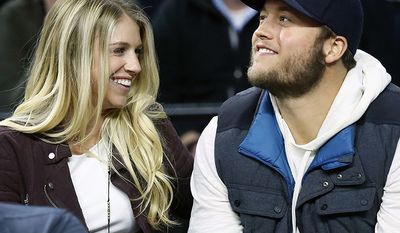 KELLY AND MATTHEW STAFFORD                                                                 Detroit Lions quarterback Matthew Stafford, right, smiles while watching the Detroit Pistons play the Cleveland Cavaliers with his wife Kelly, left, during the first half of an NBA basketball game, in Auburn Hills, Mich. Kelly Stafford says she is home after surgery to remove a brain tumor. She says the surgery lasted 12 hours and shared other details Sunday, April 21, 2019, on her Instagram account. (AP Photo/Duane Burleson, File)