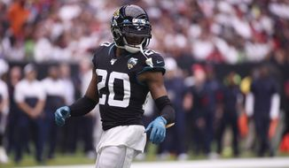 Jacksonville Jaguars cornerback Jalen Ramsey (20) during the second half of an NFL football game against the Houston Texans Sunday, Sept. 15, 2019, in Houston. (AP Photo/Eric Christian Smith)