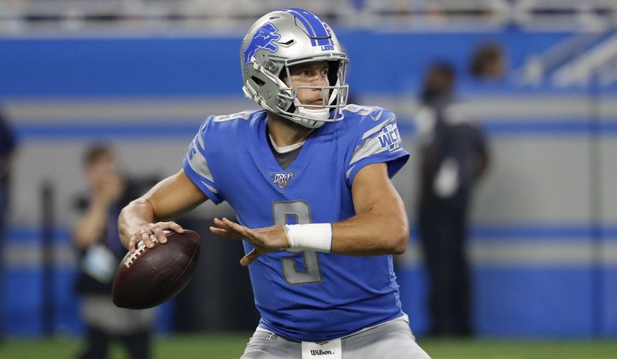 Detroit Lions quarterback Matthew Stafford (9) throws against the Los Angeles Chargers in the first half an NFL football game against the Los Angeles Chargers in Detroit, Sunday, Sept. 15, 2019. (AP Photo/Rick Osentoski)