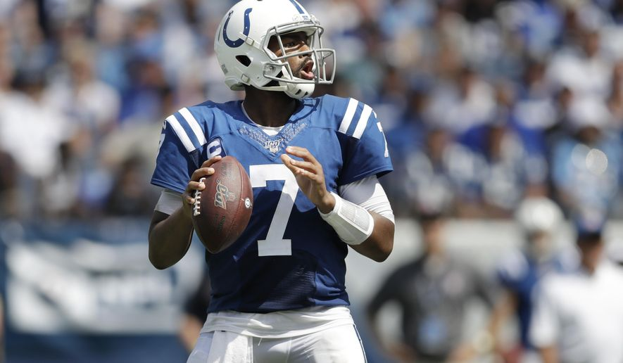Indianapolis Colts quarterback Jacoby Brissett plays against the Tennessee Titans in the first half of an NFL football game Sunday, Sept. 15, 2019, in Nashville, Tenn. (AP Photo/James Kenney)