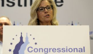Rep. Liz Cheney, R-Wyo., speaks at a news conference at the 2019 House Republican Conference Member Retreat in Baltimore, Friday, Sept. 13, 2019. (AP Photo/Jose Luis Magana)