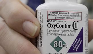 In this April 2, 2018, file photo, a pharmacist in San Francisco poses for photos holding a bottle of OxyContin. In court papers filed in New York on Sunday, Sept. 15, 2019, Purdue Pharma, the drug's manufacturer, flied for Chapter 11 bankruptcy protection. (AP Photo/Jeff Chiu, File)
